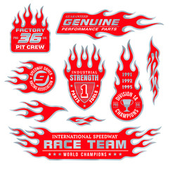 Flame logo emblems set