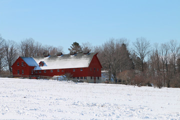 Antique Red Barn in Winter
