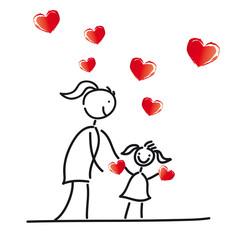 Muttertag - Mutter und Tochter mit Herzen