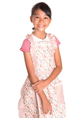 Young Girl Wearing Kitchen Apron
