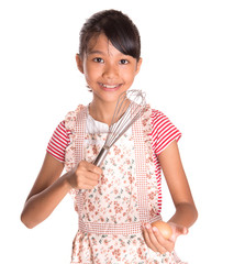 Young Girl With Egg And Egg Beater