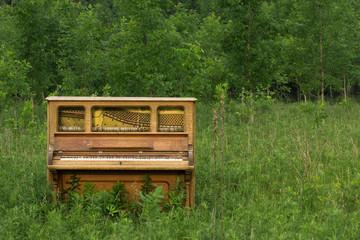 Abandoned Piano with Copy Space