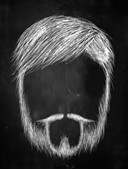 Old man with Beard sketch on blackboard