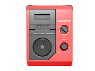 Portable cassette recorder. 3D isolated