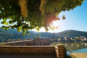 Heidelberg with bridge spanning the River Neckar. Germany.