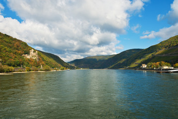 Rhine River with Burg Rheinstein. Rhine Valley, Germany.
