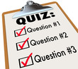 Quiz Word Clipboard Three Questions Answers Test Evaluation