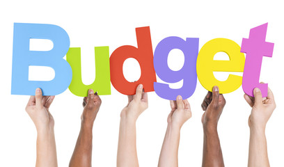 Multiethnic Group of Hands Holding Budget
