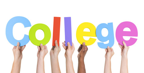 Diverse Hands Holding The Word College