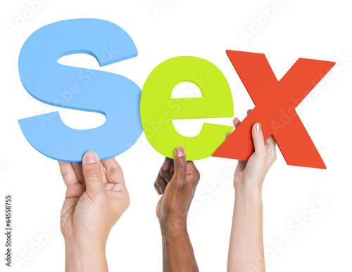 Diverse Hands Holding The Word Sex