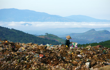People working at landfill