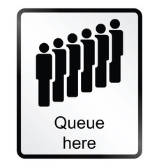 queue here public information sign