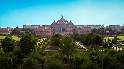 The beautiful temple in Hindu style (Akshardham, Delhi, India)