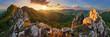Leinwanddruck Bild - Panorama mountain landscape at sunset, Slovakia, Vrsatec