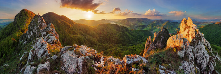 Panorama mountain landscape at sunset, Slovakia, Vrsatec