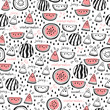 Seamless pattern of hand drawn watermelons
