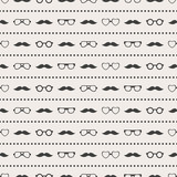 Seamless pattern of glasses and mustache