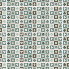 Seamless background of card suits, hearts, spades, diamonds, clu