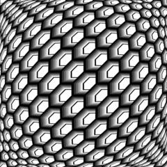 Design monochrome warped grid hexagon pattern