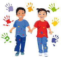 Kinder mit Handabdruck