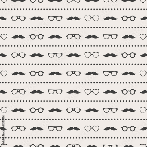 Seamless pattern of glasses and mustache - 64559914