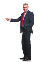side of business man pointing