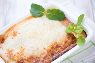 Vegetable lasagna, close-up, studio shot
