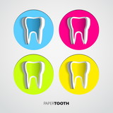 Set of Sticker papercut Tooth On White Background - Vector Illus
