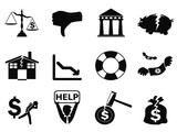 black bankruptcy icons set poster