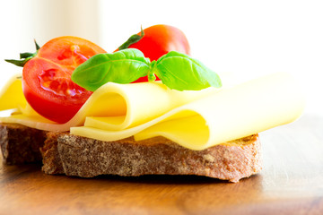 Sandwich with cheese tomatoes and basil