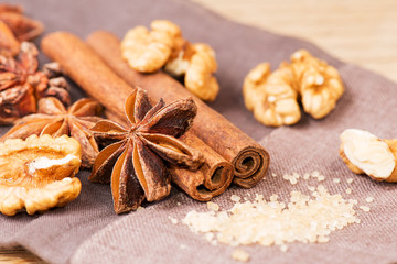 Star anise walnut brown sugar with cinnamon at christmas time on