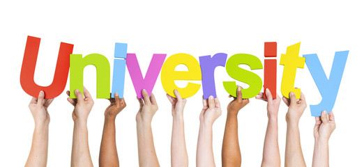 Diverse Hands Holding The Word University