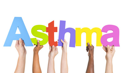 Diverse Hands Holding The Word Asthma