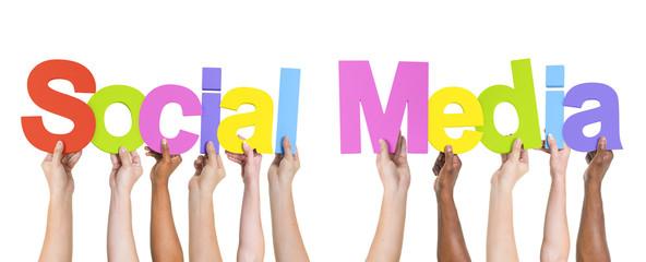 Diverse Hands Holding Social Media