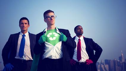 Superhero Businessmen Fighting for The Environment