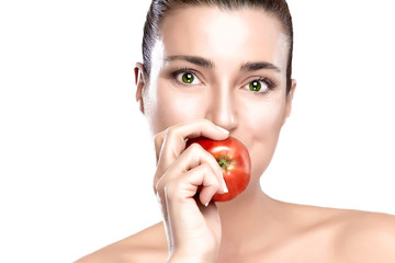 Beautiful Woman Eating a Healthy Red Apple