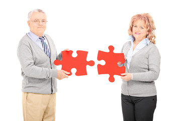 Mature couple holding two pieces of puzzle