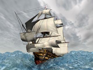 HMS Victory in stürmischer See
