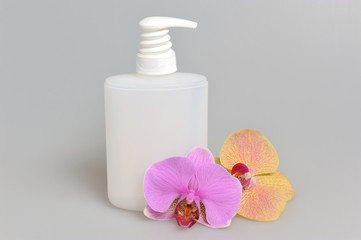 Intimate gel or liquid soap dispenser pump plastic bottle orchid