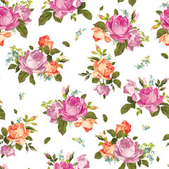 Vector seamless floral pattern with roses on white background
