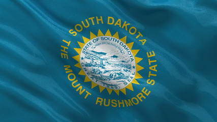 US state flag of South Dakota waving in the wind - seamless loop