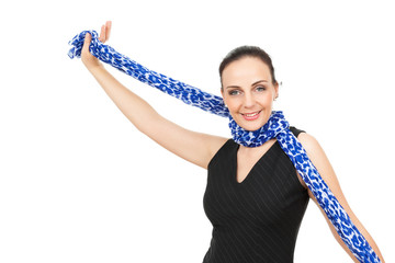 woman with blue scarf