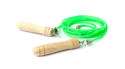 Green skipping rope.