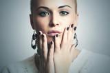 Beautiful Woman with Manicure.Shellac.Salon Nail Design