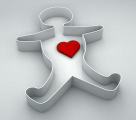 Persona, sagoma, cuore amore, scatola porta oggetti