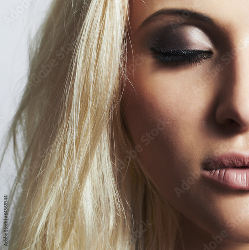 Beautiful eye of woman.beauty blond girl.make-up.skincare