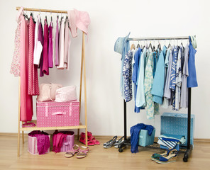 Closet with pink and blue clothes on hangers and accessories.