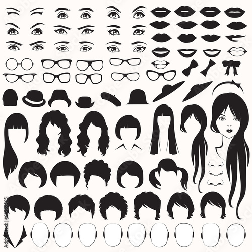 eye, glasses, hat, lips and hair, woman face parts, head - 64569565
