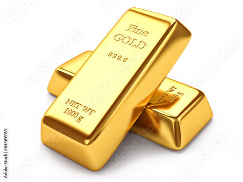 Gold ingots isolated on white background - 64569764