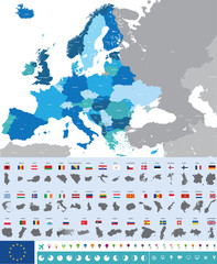 Europe map with flags